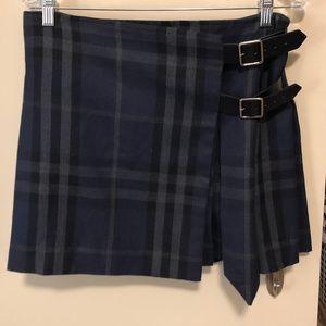 Burberry London Blue Nova-Check Pleated Skirt